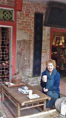 Jane Pettigrew drinking tea in Vietnam in January 2011